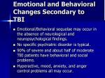 emotional and behavioral changes secondary to tbi