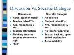 discussion vs socratic dialogue