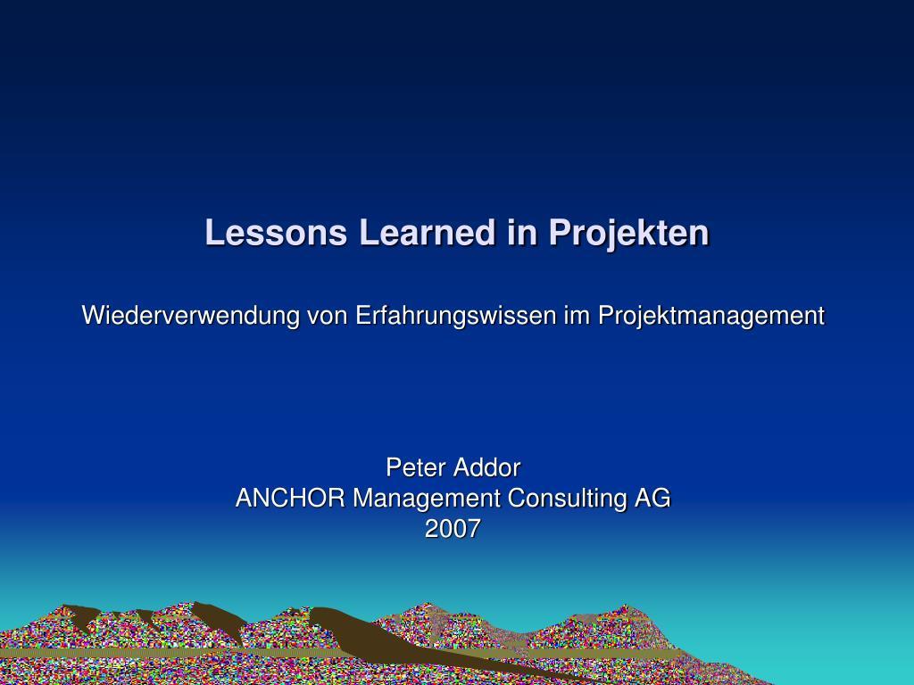 lessons learned in projekten l.