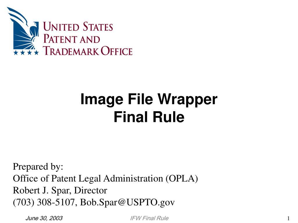 image file wrapper final rule l.