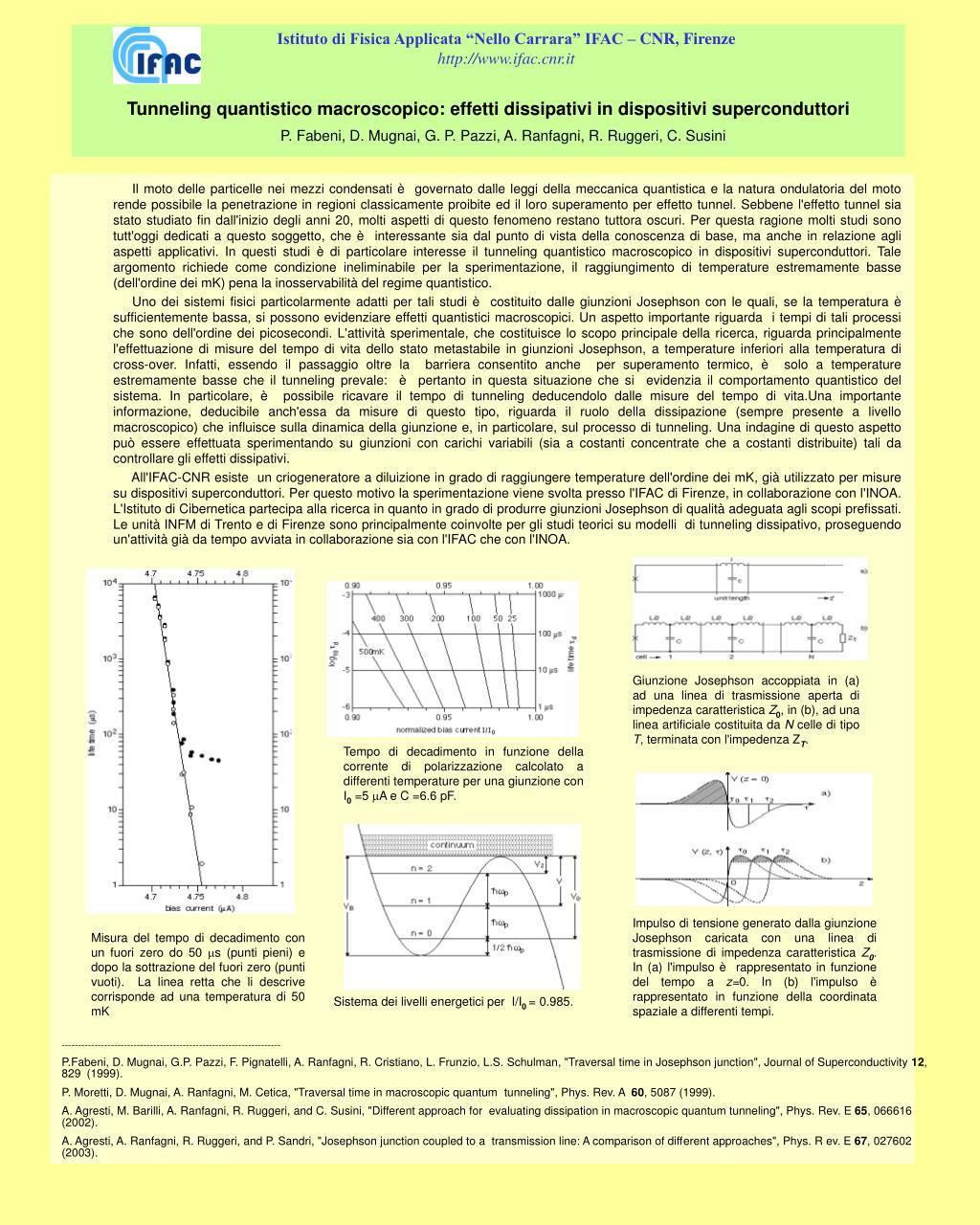tunneling quantistico macroscopico effetti dissipativi in dispositivi superconduttori l.