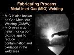 fabricating process metal inert gas mig welding