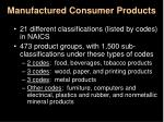 manufactured consumer products
