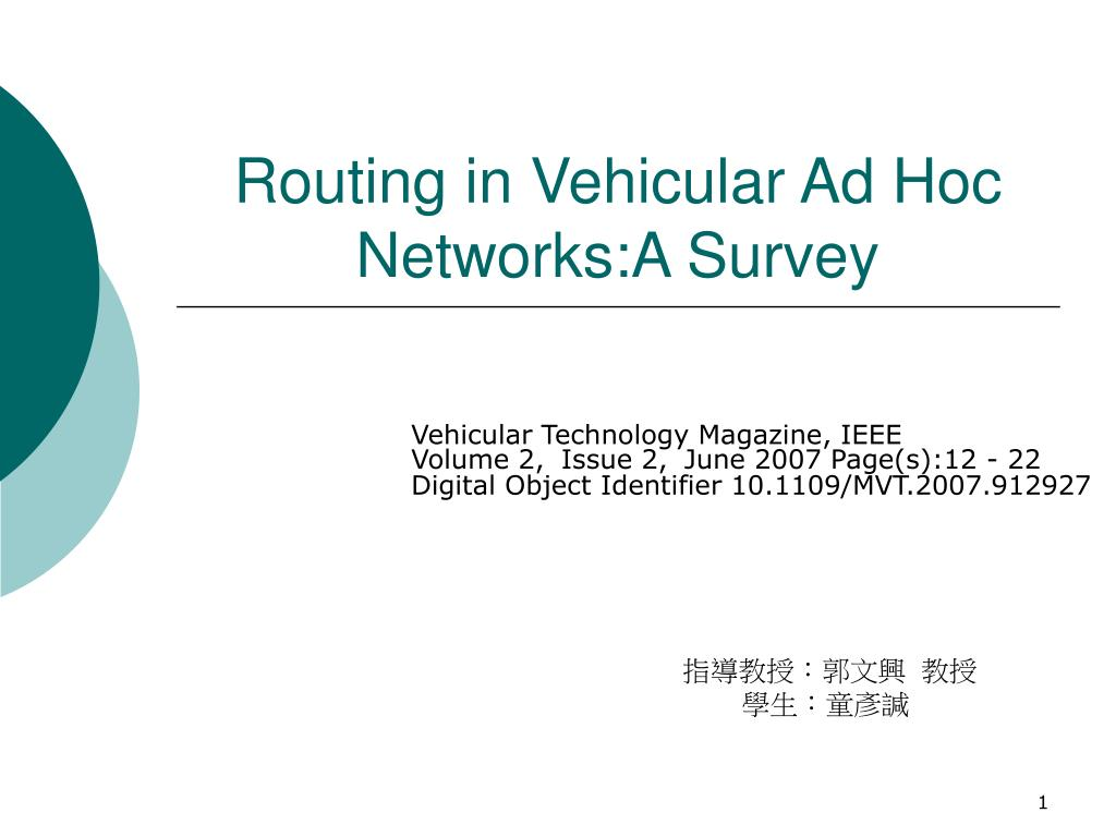 routing in vehicular ad hoc networks a survey l.