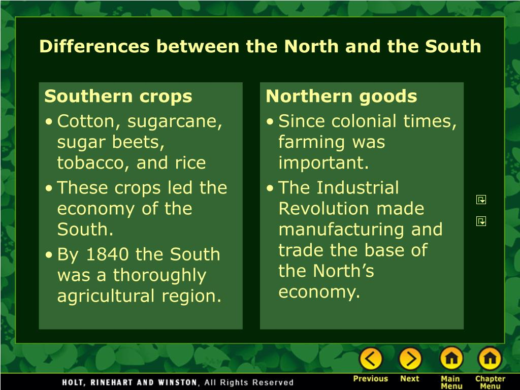 differences between the north and the