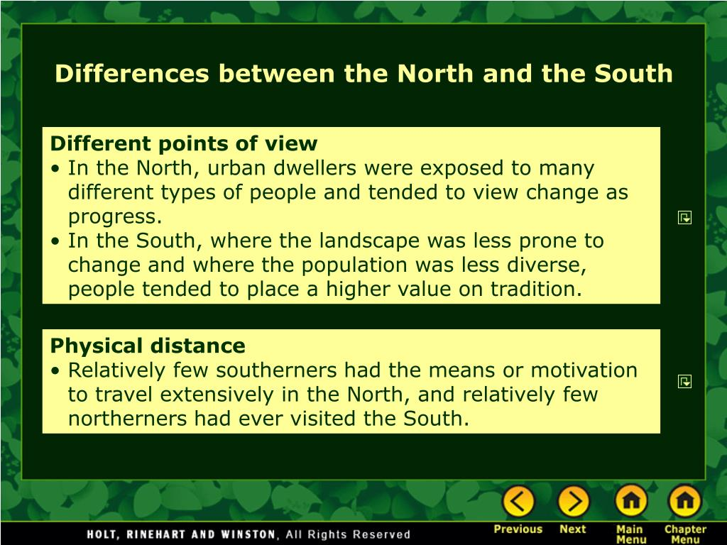 north and south differences