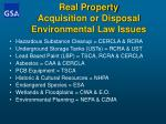 real property acquisition or disposal environmental law issues