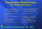 pr operative radiotherapie des rektumkarzinoms