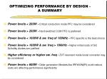 optimizing performance by design a summary