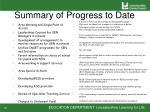 summary of progress to date