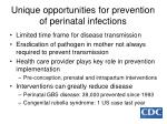 unique opportunities for prevention of perinatal infections