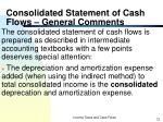 consolidated statement of cash flows general comments