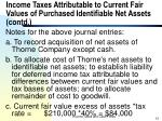 income taxes attributable to current fair values of purchased identifiable net assets contd12