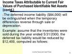income taxes attributable to current fair values of purchased identifiable net assets contd13