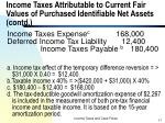 income taxes attributable to current fair values of purchased identifiable net assets contd17
