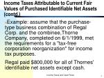 income taxes attributable to current fair values of purchased identifiable net assets contd7