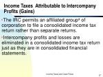 income taxes attributable to intercompany profits gains