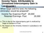 income taxes attributable to unrealized intercompany gain in land contd43