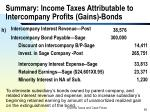 summary income taxes attributable to intercompany profits gains bonds