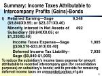 summary income taxes attributable to intercompany profits gains bonds70