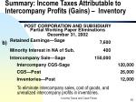 summary income taxes attributable to intercompany profits gains inventory