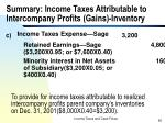 summary income taxes attributable to intercompany profits gains inventory65