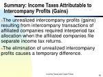 summary income taxes attributable to intercompany profits gains