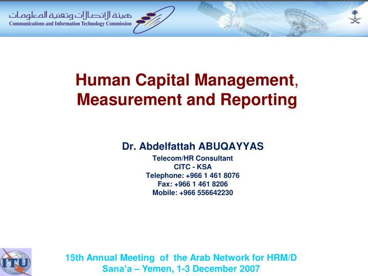 human capital management measurement and reporting n.