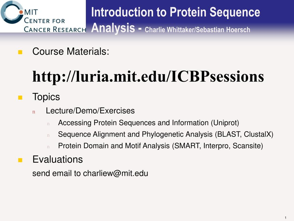 introduction to protein sequence analysis charlie whittaker sebastian hoersch l.