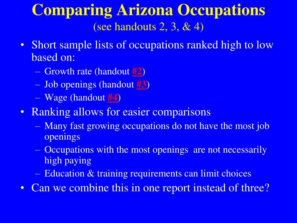 Comparing Arizona Occupations