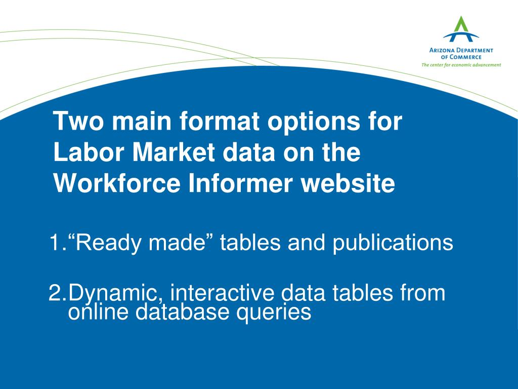 Two main format options for Labor Market data on the Workforce Informer website
