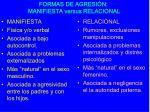 formas de agresi n manifiesta versus relacional