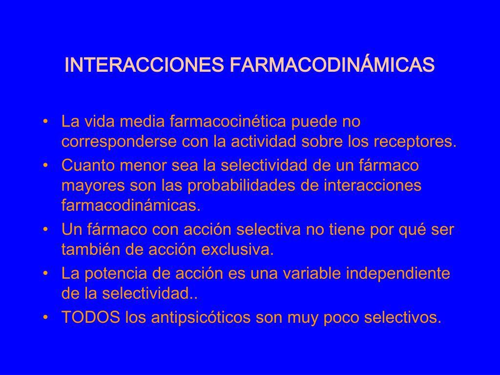 INTERACCIONES FARMACODINÁMICAS