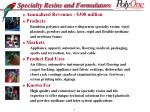 specialty resins and formulators