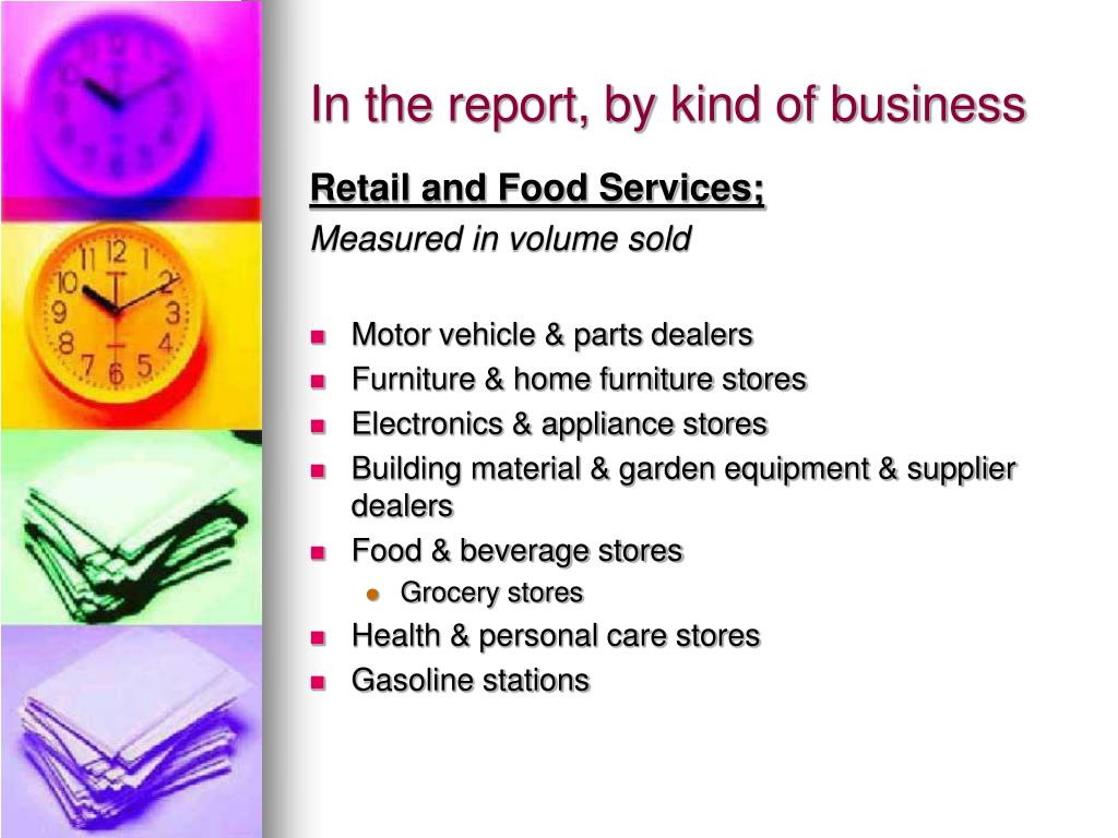 In the report, by kind of business