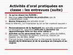 activit s d oral pratiqu es en classe les entrevues suite