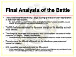 final analysis of the battle
