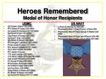 heroes remembered medal of honor recipients