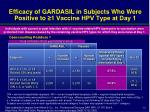 efficacy of gardasil in subjects who were positive to 1 vaccine hpv type at day 1