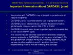 important information about gardasil cont