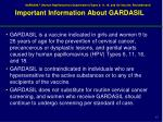important information about gardasil