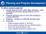 planning and program development