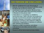 way forward and conclusions