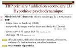 tbp primaire addiction secondaire 3 hypoth se psychodynamique