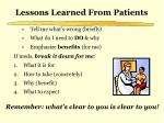 lessons learned from patients