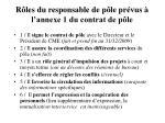 r les du responsable de p le pr vus l annexe 1 du contrat de p le