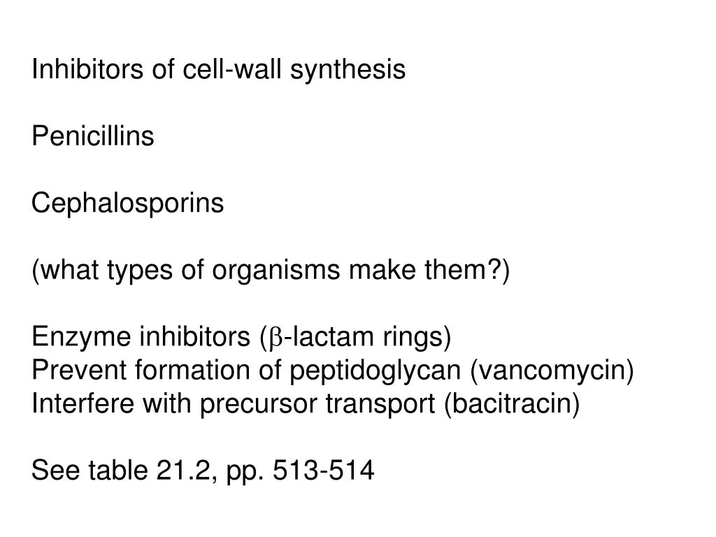 Inhibitors of cell-wall synthesis