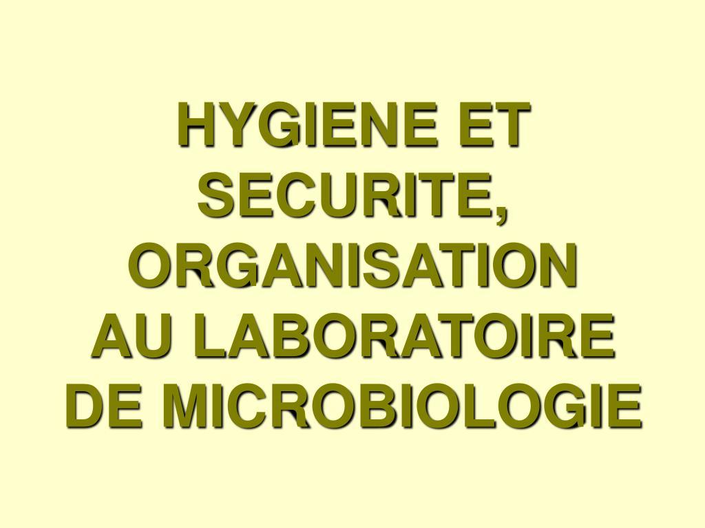 hygiene et securite organisation au laboratoire de microbiologie l.