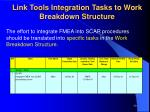 link tools integration tasks to work breakdown structure