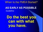 when is the fmea started